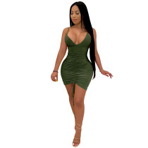 Solid Color Straps Stacked Nightclub Dress
