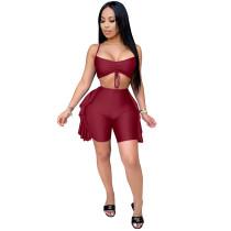 Solid Color Sling Shorts Set