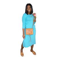 Solid Color O Neck Slit Midi Dress
