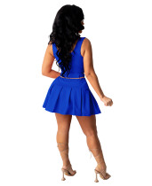 Solid Color Vest Crop Top and Mini Skater Skirt