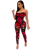 Casual Printed Strapless Jumpsuit