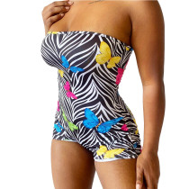 Sexy Printed Strapless Shorts Romper