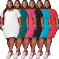 Solid Color Plus Size Midi Dress