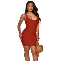 Solid Color Threaded Straps Mini Dress