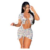 Sexy Drawstring Print Skirt Set