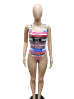 Sexy Print Letter Sleeveless Swimsuit