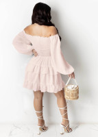 Retro Mid-waist Off Shoulder Puff Sleeve Sexy Dress