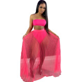 Solid Color Mesh Wrapped Top Hollow Pant and Perspective Long Skirt