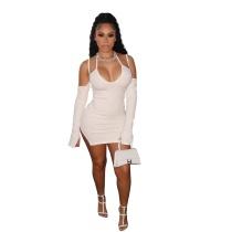 Solid Color Pit Halter Mini Dress