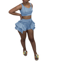 Solid Color Vest Crop Top and Ruffled Shorts Set