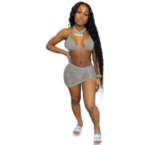 Bikini Halter Swimsuit Three Piece Set
