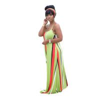 Casual Striped Printed Straps Maxi Dress