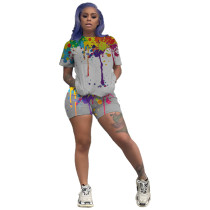 Casual Inkjet Print Home Two Piece Set