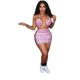 Three-piece Print Sexy  Bikini Swimsuit