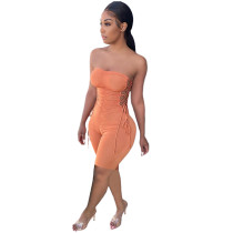 Casual Strapless Pleated Bandage Romper