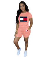 Solid Color Offset Printed Sports 2 Pcs Outfits with Pockets