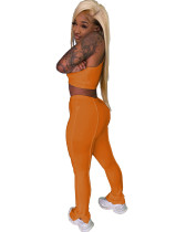 Solid Color Vest Crop Top and Trousers
