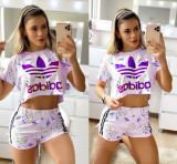 Casual Print Letter Crop Top and Shorts