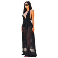 Mesh Lace-up Halter Romper Sexy Long Dress