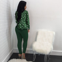 Green Lapel Polka Dot Cardigan Shirt