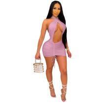 Halter Shirring Sexy Backless Dress
