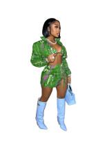 3Pcs Casual Print Bandage Cardigan Bra and Skirt