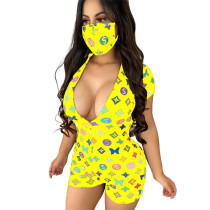 Casual Printed Colorful Romper without mask
