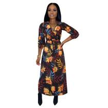 Casual Print Nightclub V Neck Print Mid Dress
