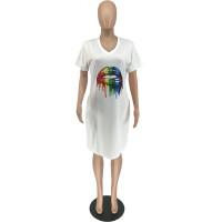 Plus Size Round Neck Lip Print Midi Dress