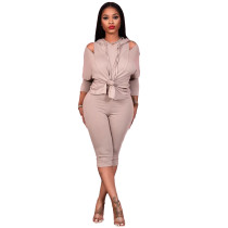 Loose Cold Shoulder Women's Two Piece Hoodie Set