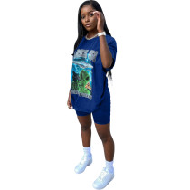 Two-piece Casual Cartoon Letter Print Home Loungewear Set