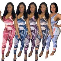 Casual Print Sleeveless Jumpsuit