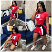 Letter Printing Splicing Casual Two-piece Set