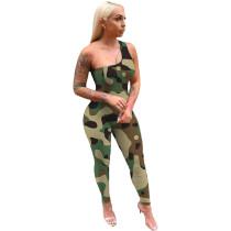 One Shoulder Camouflage Print Jumpsuit