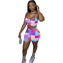 Two Piece Casual Printed Straps Crop Top and Shorts