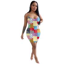 Casual Printed Women's Beach Straps Dress