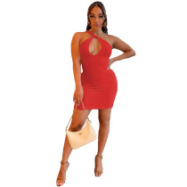 One Shoulder Hollow Sexy Nightclub Dress