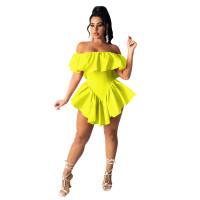 Solid Color Off Shoulder Irregular Nightclub Pleated Sexy Mini Dress