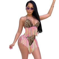 Colorful Leopard Print Bandage Bikini Set with Fringe