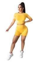 Casual Printed Slim Yoga Short Set