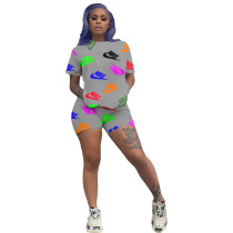 Casual Print Letter Sport Two Piece Short Set