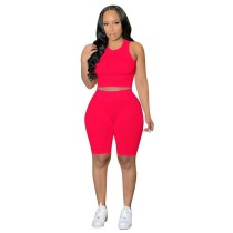 Solid Color Sleeveless Pit Two Piece Shorts Set