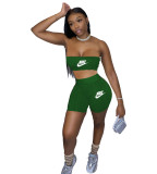 Casual Letter Wrapped Chest Shorts Yoga Set
