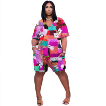 Casual V Neck Color Block Printed Jumpsuit