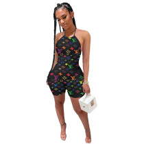 Colorful Playsuit Halter Print Rompers