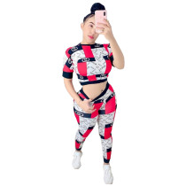 Casual Pattern Print Two Piece Outfits