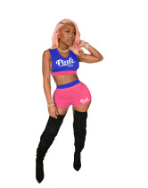 Contrasting Color Sleeveless Short Two Piece Set