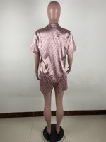 Two Piece Home Set Satin Letter Loungewear Pajamas