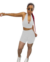 Casual Hollow Halter Vest and Shorts
