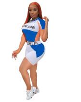 Casual Letters Print Short Sleeve Shorts Sports Pant Set